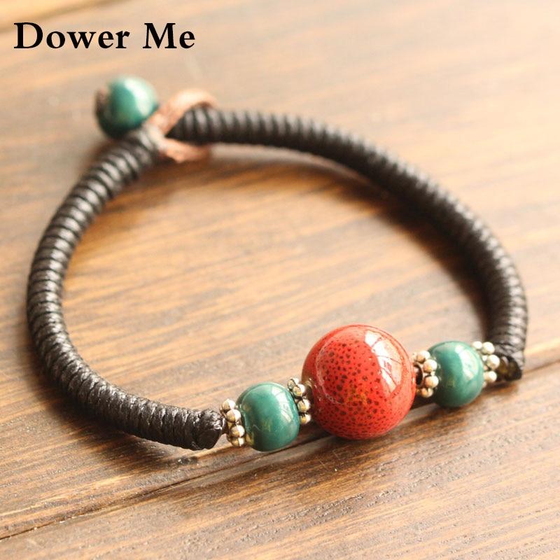 Dower <font><b>Me</b></font> 2017 new <font><b>lucky</b></font> beads beaded neutral bracelet retro simple ceramic beads hand-woven high-quality couple bracelet&bangle