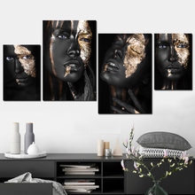 Wealth Black Girl Vintage Scroll Canvas Painting Frame Art Posters and Prints Poster Modern Wall Picture for Living Room