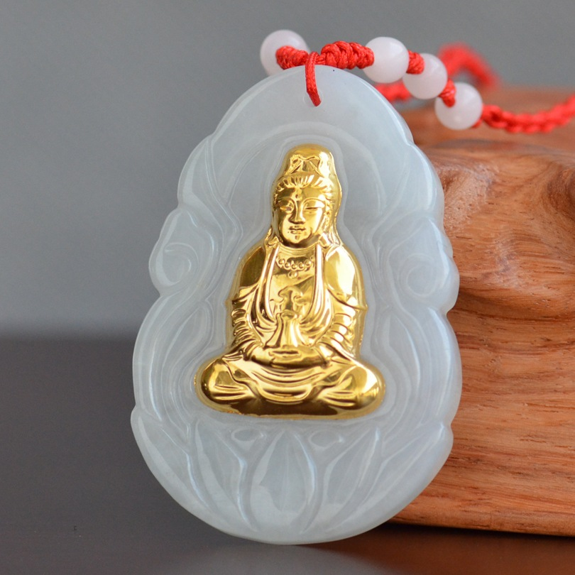 цена High Quality Hetian Jade Necklace Buddha Guanyi Jade Pendant For Men Women Good Luck Gift