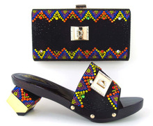 TH16 45 Hot sale Italian ladies shoes and matching bag with rhinestone top quality African style