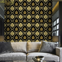 beibehang Luxury European Crown Wall paper Hotel Clothing Store Restaurant Beauty Salon House Club Black Simple Wallpaper roll