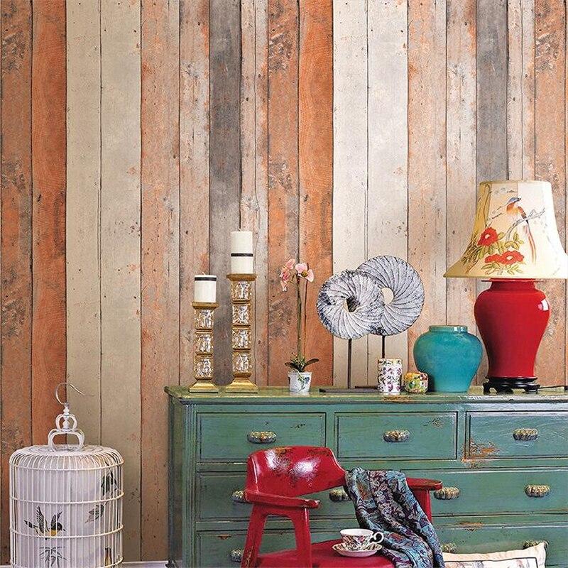Beibehang rétro Simulation bois couleur bois planche bois PVC papier peint personnalité Bar café nostalgique femmes vêtements papier peint