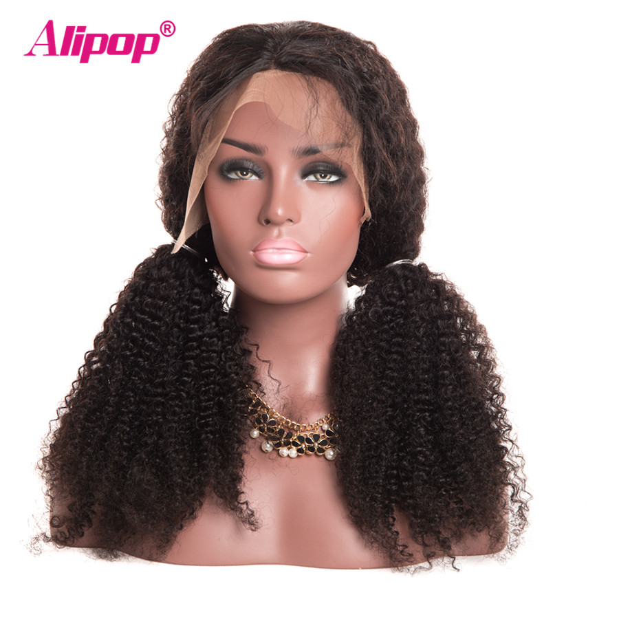 180 Density Malaysian Kinky Curly Wig 13x4 Lace Front Human Hair Wigs With Baby Hair ALIPOP