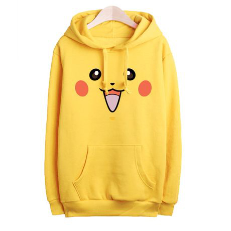 2017 Rushed Unisex Lovely Pokemon Face Tail Zip Hoodie Hoody Sweatshirt Pikachu Costume Cosplay Clothes Women