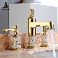 Смесители для умывальника латунь золотой 3 отверстия двойная ручка Ванная комната раковина кран Роскошные bathbasin Ванна краны горячей холодн