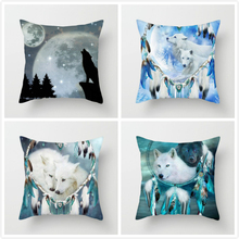 Fuwatacchi  Wolf with Wings Throw Pillow Covers Fantasy Cushion Cover Howl at Moon Pillowcases For Sofa Decor 2019