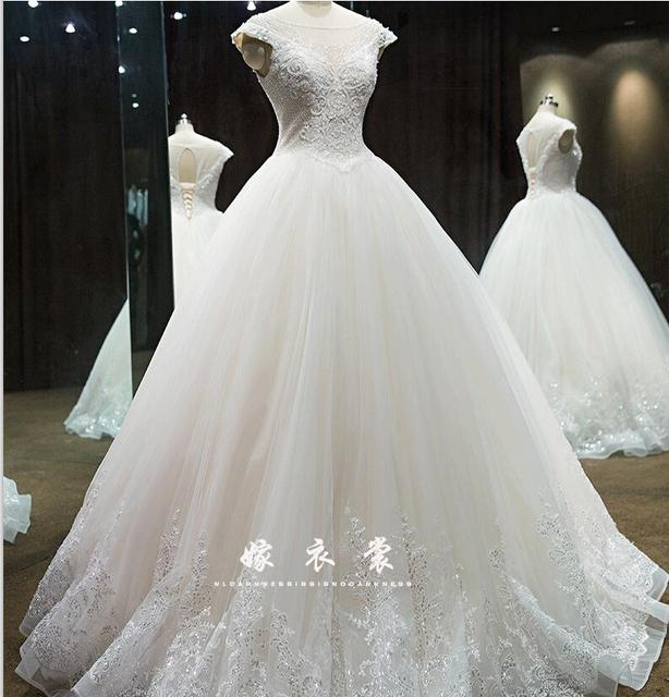 Clearance Wedding Dresses.Us 100 0 Aliexpress Com Buy Clearance Sexy Short Sleeve Wedding Gowns With A Line Lace Bead Instock Champange Romantic Bride Dress From Reliable