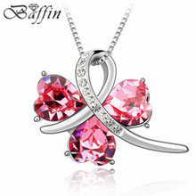 Hot sale Crystal Clover Pendant Necklace Made with Swarovski Elements Jewelry Factory Direct Sale(China)