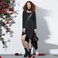 Rosetic Gothic Asymmetrische Kleid Frauen Schwarz Herbst Spitze Up Verband Mode Sexy Prom Retro Partei Schlank Harajuku Goth Casual Kleid