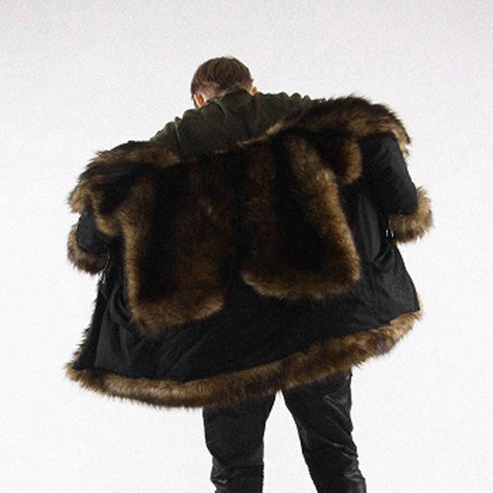 Jaycosin Veste À Manteau Parka En Fausse Noir D'extérieur Plus Mens Vêtement Chaud Épais Épaississement Fourrure Capuche Long W9EeDI2YH