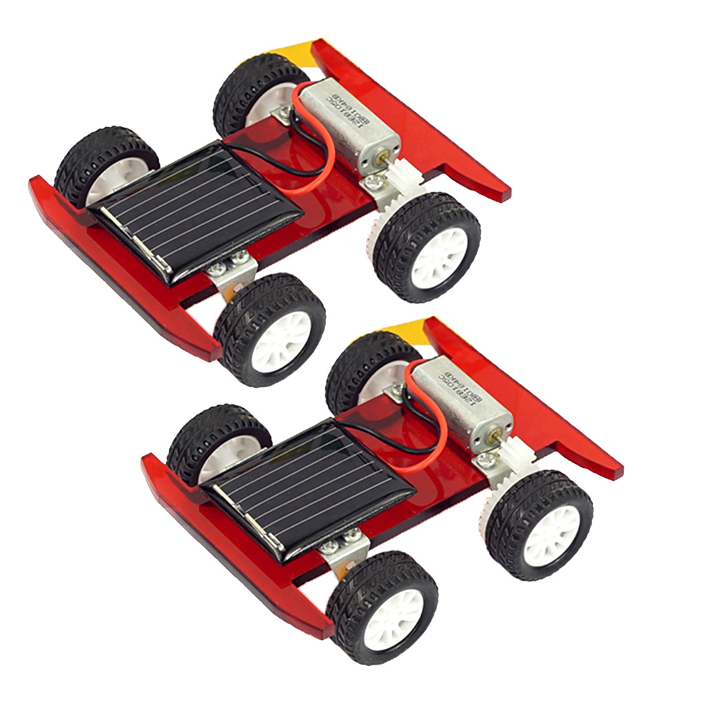 2 pcs Solar Power Mini Motor Electrical Racing Car Model Toy DIY Physics Circuits Science Experiments Discovery Kids Educational