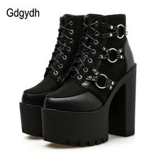 Gdgydh 2018 New Fashion Motorcycle Boots Women Platform Heels Casual Shoes Lacing Round Toe Shoes Ladies Autumn Boots Black