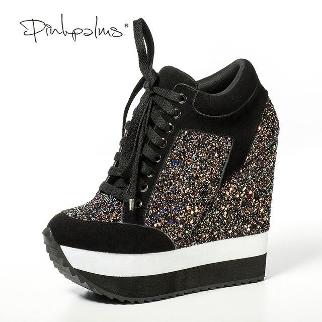 4fbfb8861f74 Pink Palms Glitter Shoes Women in Women s Pumps Increased High Heels Shoes  Wedge Heels Women Pumps Feminino Sapato Feminino