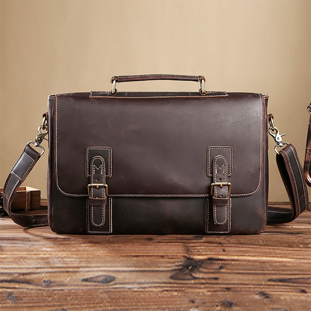 Crazy Horse Cowhide Men Business Tote Handbag Vintage Laptop Bags Briefcase Men Genuine Leather Messenger Sling Shoulder Bag joyir men briefcase real leather handbag crazy horse genuine leather male business retro messenger shoulder bag for men mandbag