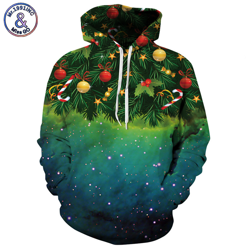 Mr.1991INC Sky Christmas tree Print Men Hooded Sweatshirt autumn winter casual Pullovers ...