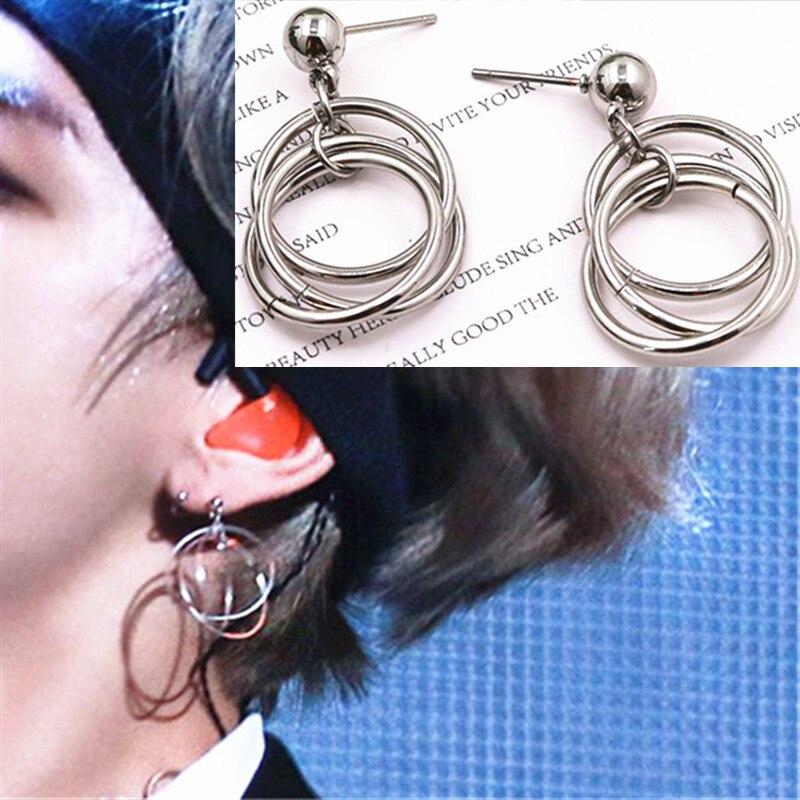 KPOP DNA Korean Star V Circle Earrings Studs Bangtan Boys Accesorios Album Earrings Gifts Jewellery Earrings Women Men