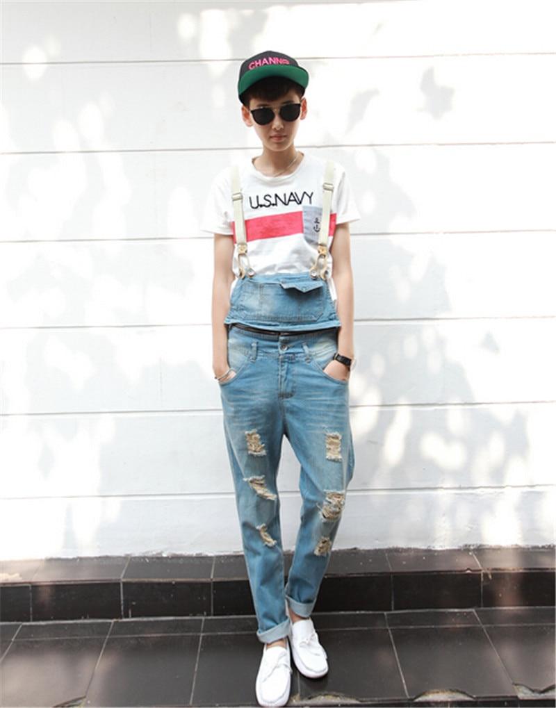 2015 Spring Summer Fashion Casual Men s Ripped Hole Denim Bib Pants Man Cool Stylish Jeans