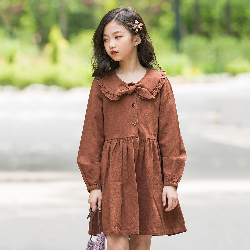 school linen cotton big girls dresses long sleeve with bow a line teenage girls autumn dress 2018 children clothing 2018 autumn long sleeve cotton loose big girls clothes teen school floral print style dress a line casual dresses 10 11 12 13 14