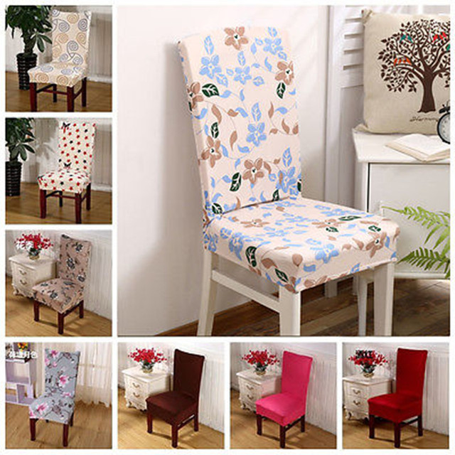 Removable Elastic Stretch Slipcovers Dining Room Chair Seat Covers Floral Cover