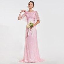 af66bc163 Tanpell rosa de dama de honor vestido con cuello en v de manga corta longitud  piso funda vestido de las mujeres boda fiesta form.