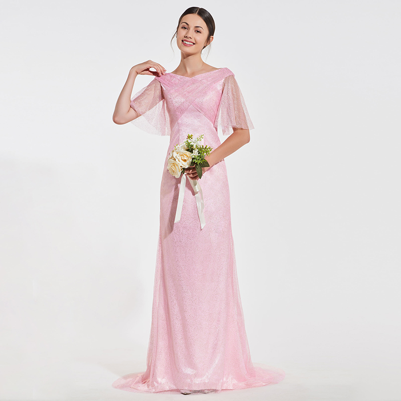 Tanpell pink   bridesmaid     dress   v neck half sleeves floor length sheath gown women wedding party formal custom   bridesmaid     dresses