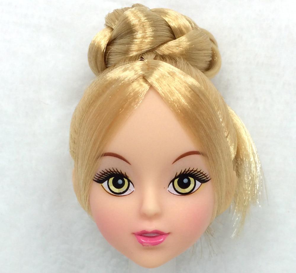 NK אחד Pcs אופנה ראש בובה הזהב שיער עשה זאת בעצמך לבובה ברבי Kurhn בובה הטוב ביותר ילדה 'מתנה ילד' צעצועים DIY 024H