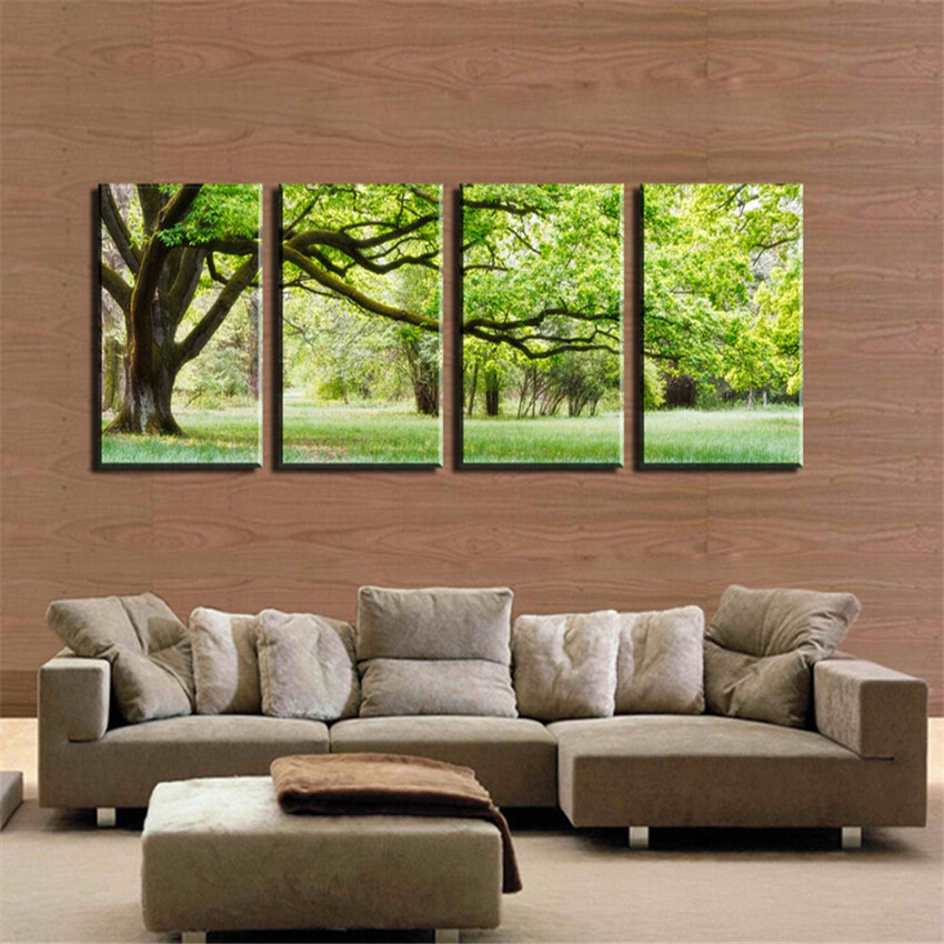 4 piece green tree canvas painting modern 40x60cm wall for Piece of living room decor