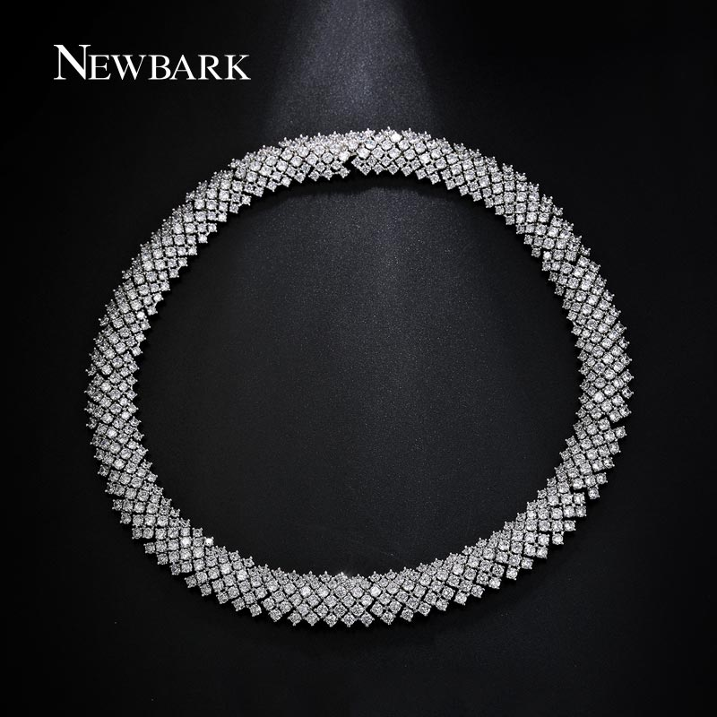 NEWBARK Luxury Statement Choker Necklaces Silver Color Square Cubic Zirconia Wide Ladies Chain Necklace collier femmeNEWBARK Luxury Statement Choker Necklaces Silver Color Square Cubic Zirconia Wide Ladies Chain Necklace collier femme