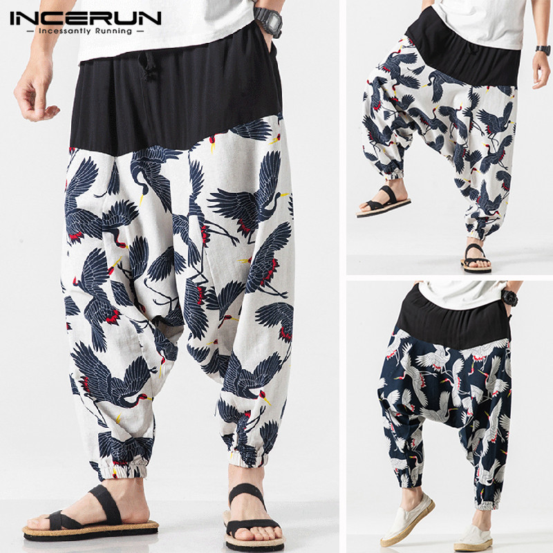 INCERUN Men's Elastic Waist Casual 2020 Chinese Style Nine Pants Men's Wide Leg Pants Bloomers National Wind Pantalones Hombre