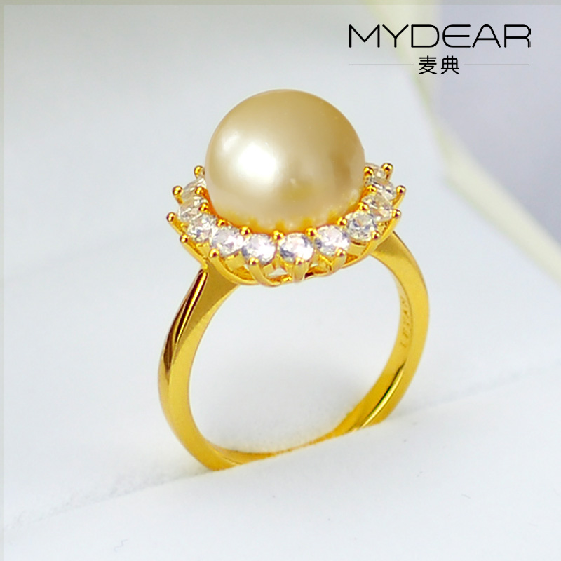 MYDEAR latest gold pearl ring designs for women pearl ring ...
