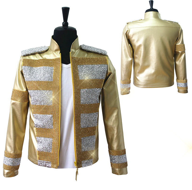 Custom Made New MJ Professional Cosplay MICHAEL JACKSON Costume Slave To The Rhythm Jacket Gold Rhinestones Leather Coat Custom