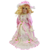 16 40 Cm Ethnic Doll Girls Realistic Pink Princess Handmade Ceramic Dolls With Yellow Curls Porcelain