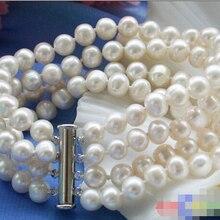 """4row """" 8 мм белый круглый пресноводные искусственные жемчужный браслет@^ Благородный стиль Природный Изысканные jewe 5.25"""