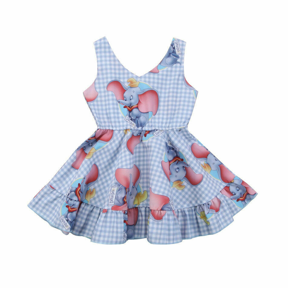 Toddler Kids Baby Girls Dumbo Plaid Sleeveless Dress