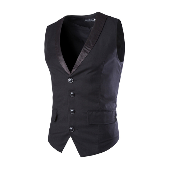 New Sale Men Slim Suit Vests Male Single Breasted Notched Collar Business Casual Vest Men Party Wedding Waistcoat