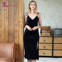 Lurehooker Sexy Backless Velvet Nightgown Split Temptation Nightdress Autumn Winter Sleeveless Sleepwear Strap Home Dress