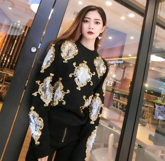 Cakucool Beading Knit Tops Women Long Sleeve O-neck Sequined Sweaters Floral Embroid Shiny Jumpers Sweater Knit Pullovers Female