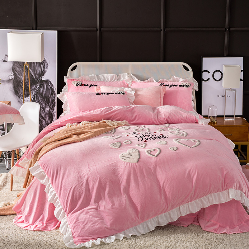 Thick Fleece Warm Love You More Bedding Set Winter Flannel Embroidery Ruffles Duvet Cover Bed Sheet Queen King size 4pcsThick Fleece Warm Love You More Bedding Set Winter Flannel Embroidery Ruffles Duvet Cover Bed Sheet Queen King size 4pcs