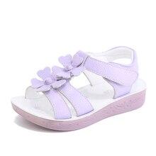 Детские сандалии для девочек без каблука обувь для девочек с цветком анти-скользкий без каблука обувь для детей девочек Летняя дышащая обувь малыша