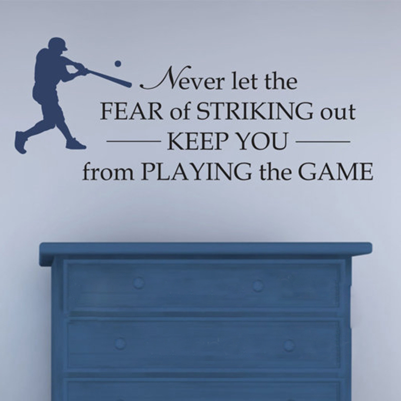 Free Shipping Baseball Vinyl Wall Decal - Never let the fear of Striking Out - boys Room Baseball Decor Sticker ,s2062