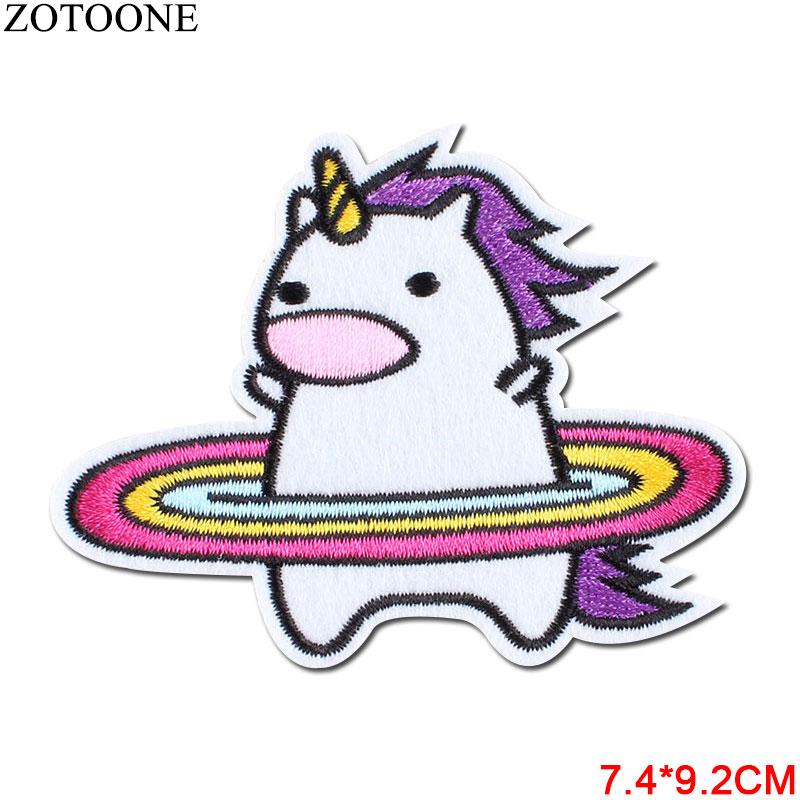 1Pcs UFO Space Planet Patch Embroidered DIY Unicorn Iron On Kids Patches For Clothing Cute Punk Skull Stickers Badge Appliques A in Patches from Home Garden