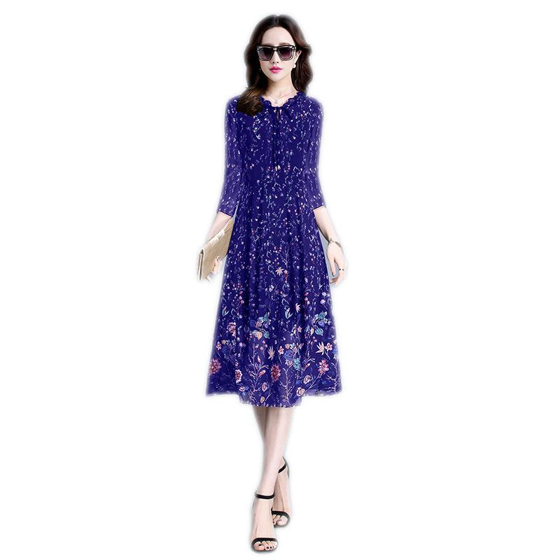 2019 Spring Summer Women Middle Aged Floral Print Mother Dress Female Draped Sashes Slim Vestido Lady Party Fashion Dresses Z226 image