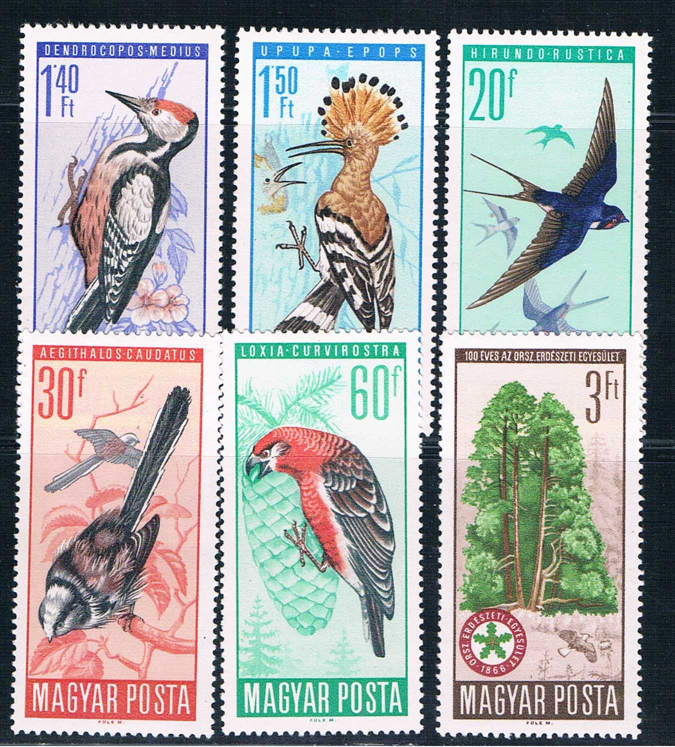 H0067 Hungary 1966 birds 6 new 1219 hungary