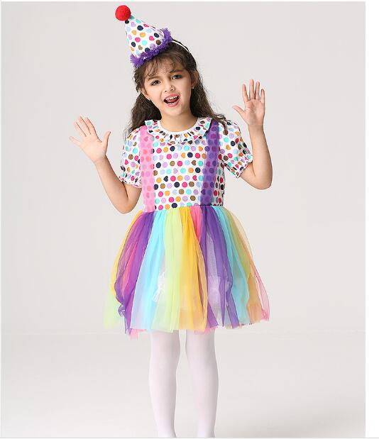 US $13 41 23% OFF|New Halloween Clown Makeup Magician Role Play Stage  Costume Christmas Dress Funny Girls Clothes Naughty Children Dresses  YW004-in