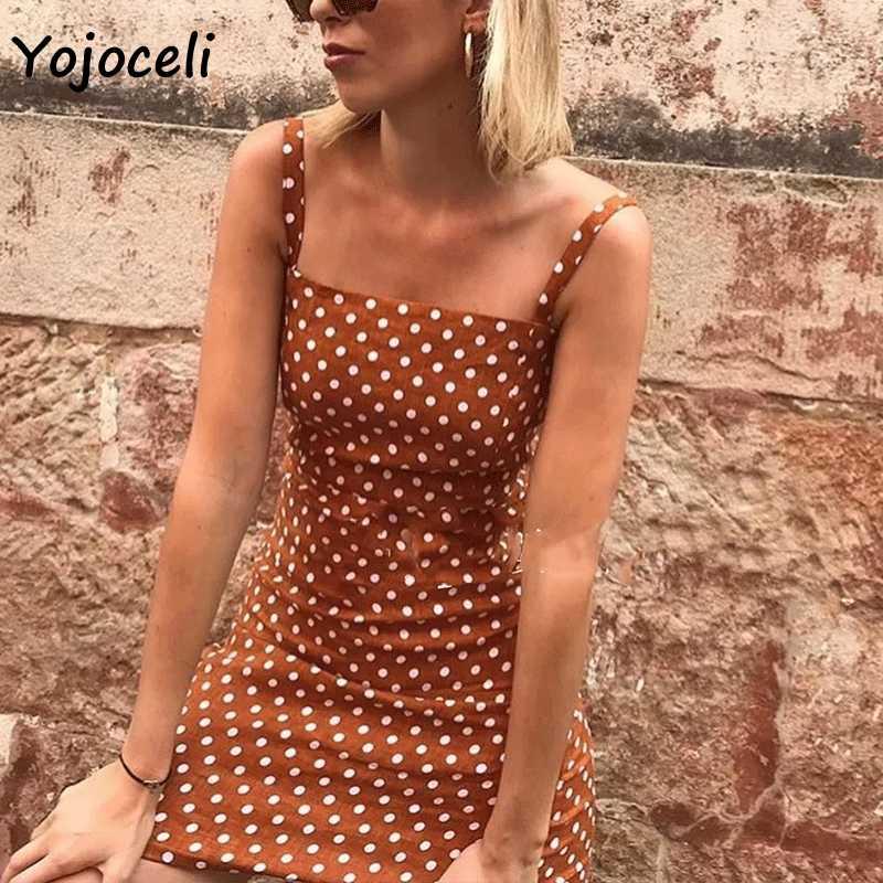 Yojoceli милое платье в горошек с бантом женское облегающее сарафан богемное пляжное мини-платье повседневное Бохо пляжное платье