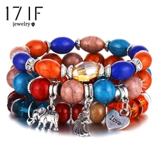 17IF модные браслеты в стиле бохо и браслеты для женщин любовь крылья слона амулеты красочные бисерный браслет набор для женщин ювелирные изделия