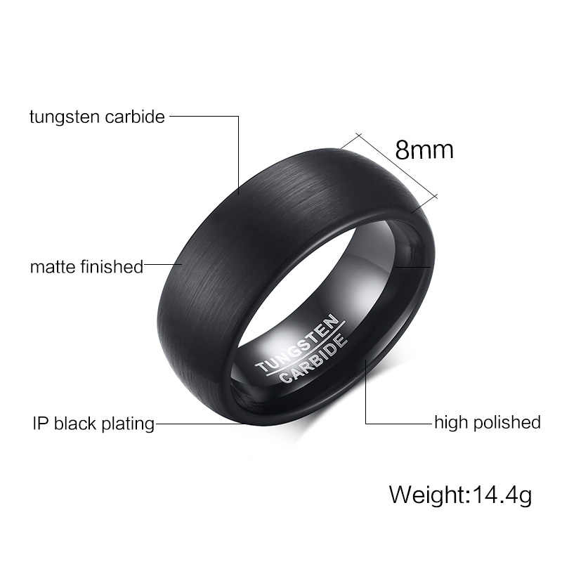 คุณภาพสูงสีดำ 100% แหวนทังสเตนคาร์ไบด์สำหรับผู้ชาย Matte เสร็จสิ้น Comfort Fit ขนาด 7 8 9 10 11 12