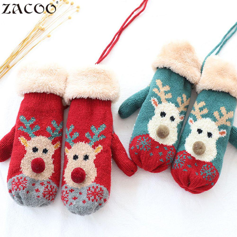 Zacoo Girls Xmas Winter Gloves Knitted Women Fashion Knitted Winter Warm Gloves Chic Christmas Element Pattern Mittens San0 Relieving Heat And Sunstroke
