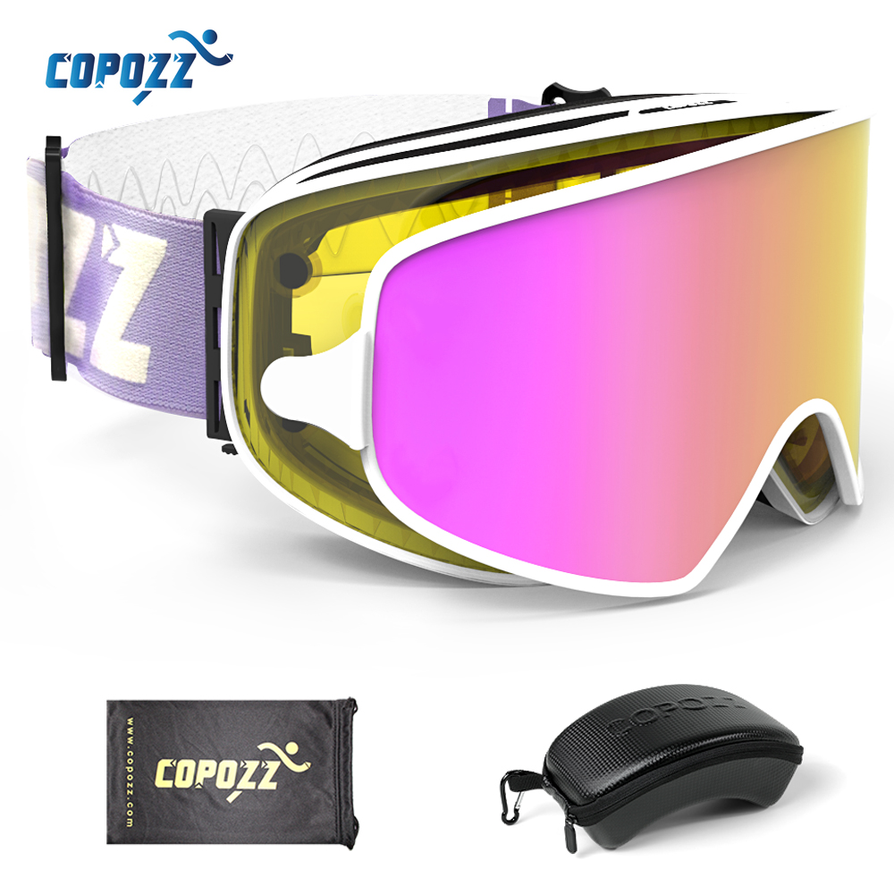 COPOZZ Magnetic 2 in 1 Ski Goggles with Case 2 Lenses for Night Skiing Ski Mask