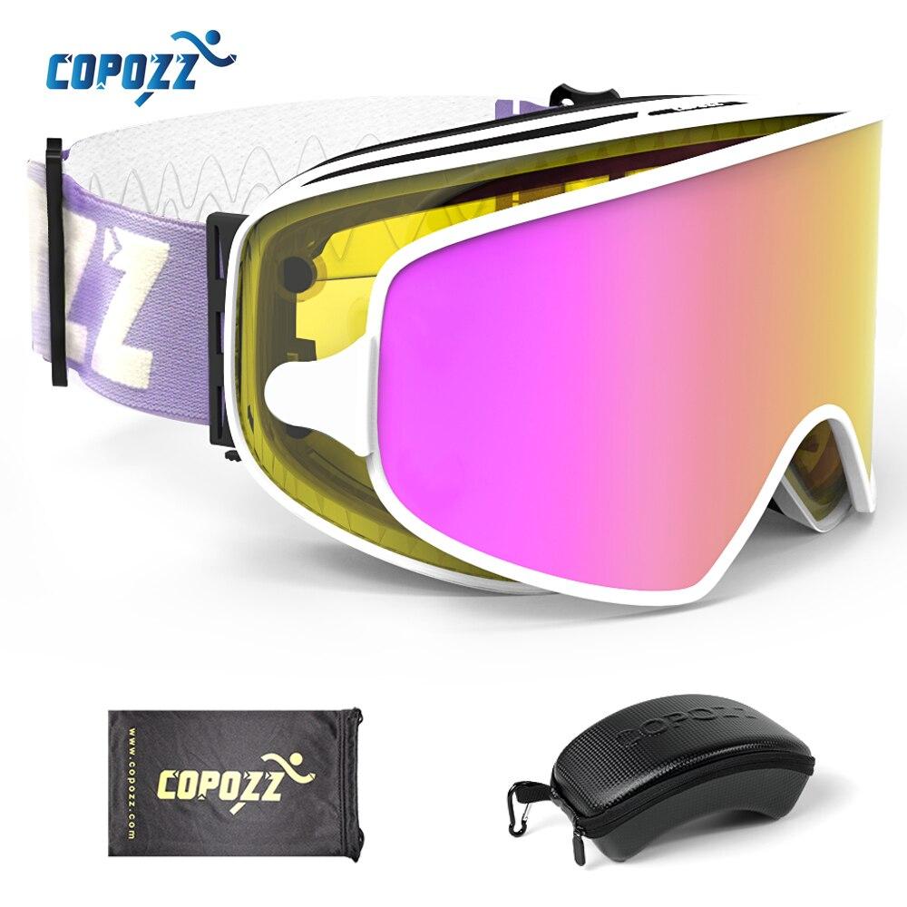 COPOZZ lunettes de Ski magnétiques 2 en 1 avec étui 2 lentilles pour Ski de nuit masque de Ski Anti-buée UV400 lunettes de Snowboard pour hommes et femmes
